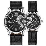 カップル腕時計,Karchi 時計 超薄型 軽い 革バンド ウォッチ メンズ レディース ウォッチ 腕時計 恋人 記念日 バレンタインデー 誕生日プレゼント 1ペア 2本セット (ブラック+ブラック)