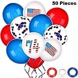 7月4日 愛国的バルーン 星柄 風船 赤 白 青 ラテックスバルーン 50個 3ロールリボン付き 独立記念日のお祝い用
