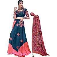 Exotic India Georgia Peach and Blue Sapphire Lehenga Choli Ensemble from Gujarat with Embroidered Pocket in Multicolor Thread