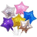 星 スター バルーン アルミフィルム デコレーション 風船 誕生日 イベント パーティー 装飾 18インチ 6枚入(ランダムカラー)