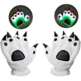 (Style 3/ Gift Box Package) - Luwint LED Colourful Finger Flashing Light Up Gloves, Youth Adult Bear Paw Lights Up Gloves for Birthday Party Rave Show Cosplay (Gift Box Package)