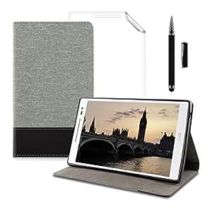 kwmobile 3IN1セット:キャンバスケース 実用的なスタンド機能付き Asus ZenPad 8.0用 ダークグレー + ホイル, クリスタルクリア + スタイラス, 黒色 - フェイクレザーアップリケ付き