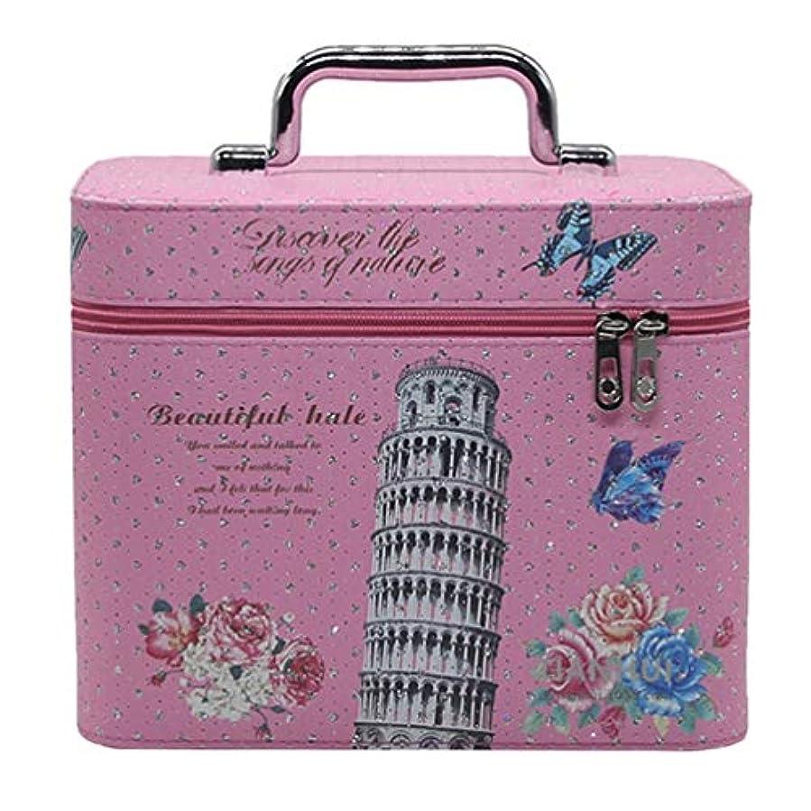 バン月ステレオタイプメイクボックス 可愛い コスメボックス 化粧品箱 収納ボックス 鏡付き ダブルジッパー スムース 防水 手提げ おしゃれ 花柄 ピンク ガールズ プレゼント