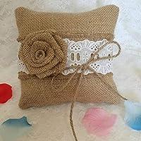 Kongqiabona Rose Flower Decorative Ring Pillow 15 * 15cm Burlap Finger Ring Cushion Romantic Bridal Decorations Party Supplies
