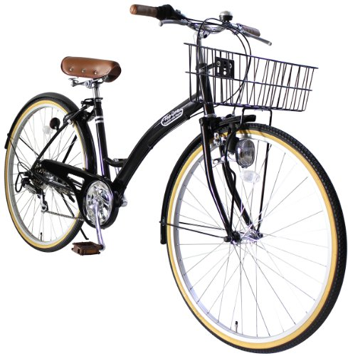 トップワン(TOP ONE) 26インチシティサイクル シマノ製6段ギア ブラック T-CCB266-43-BK アクアブルー・ブラック・レッド