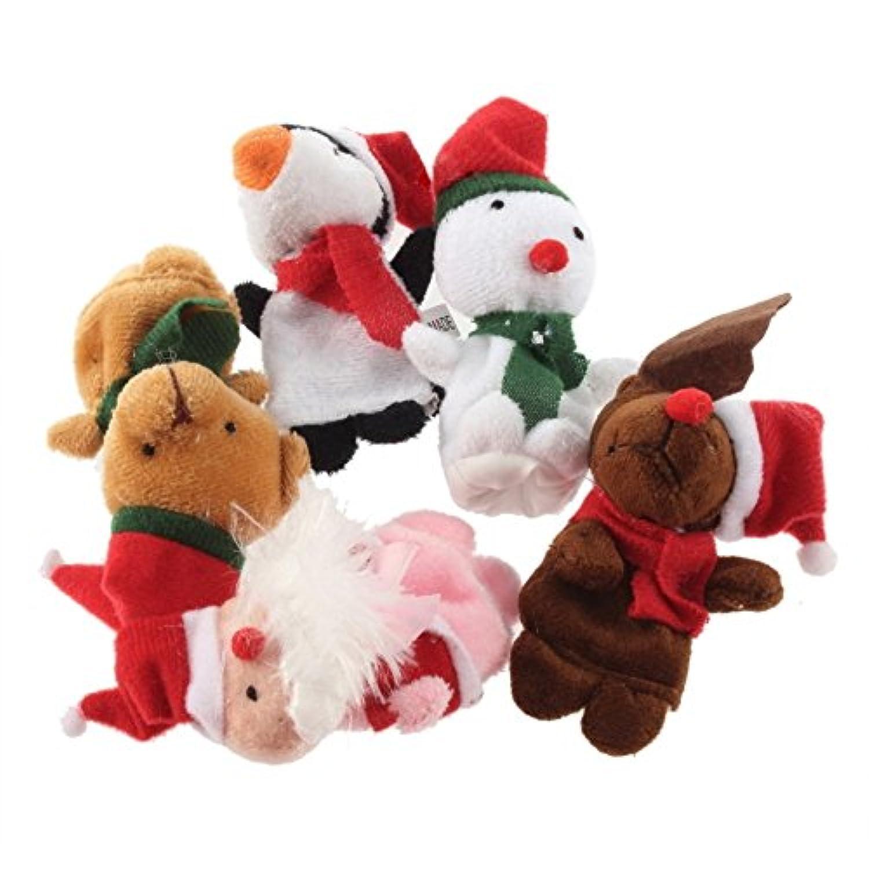 楽しい クリスマス 指人形 人形 【 収納袋 セット 】 発表会 演劇 動物 生活発表会 5本指 指 おもちゃ パーティー イベント クリスマス会 お遊戯 サンタ トナカイ スノーマン 他 S29
