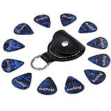Anpro ギターピック12枚(0.46mm 0.71mm 0.96mm)&ピックケース キーホルダー 本革(レザー)製