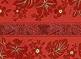 赤のハワイアンファブリック ハイビスカス・タパ柄 fab-2569RD 【ハワイ生地・ハワイアンプリント】
