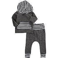 新生児赤ちゃん男の子女の子暖かいフード付きTシャツトップ+パンツ服装セット子供用服