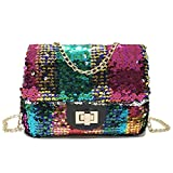 レディース アンサンブル (Rainbow) - cool nik Sequin Shoulder Bag, Classic Crossbody Shoulder Bag for Women Quilted Purse With Metal Chain Strap
