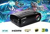 新しい3200Lumens HDテレビホームシアタープロジェクターHDMI LCD LEDゲームPCデジタルミニプロジェクター1080P 1280 * 768 LED HDミニプロジェクター (Black) [並行輸入品]