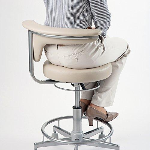 サンワダイレクト ラウンドチェア 丸椅子 キャスター付き 高さ調節 背もたれ コンパクト ベージュ 100-SNC019BG