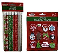 Christmas House Holiday School Supply Set - Pencils and Erasers by Christmas House [並行輸入品]