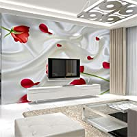 Ljjlm 家の装飾の壁紙赤のバラの花の写真の壁画の壁紙の寝室の3D自己接着壁紙-280X200CM