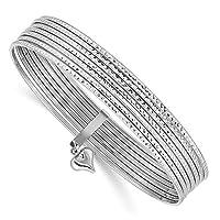 Bonyak Jewelry 14K WG ダイヤモンドカット スリップオン 7バングル 14K ホワイトゴールド