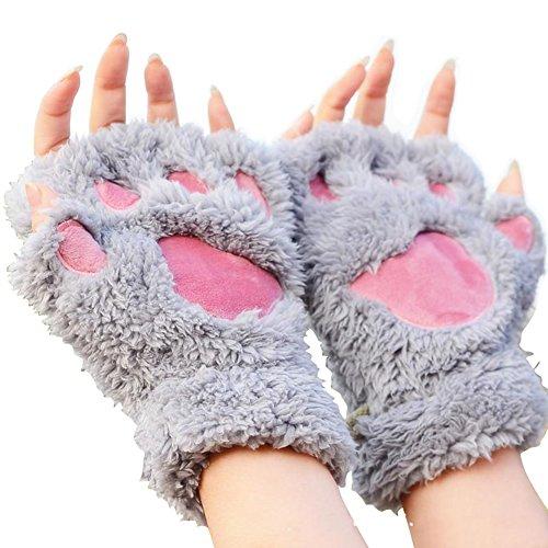 (よキーよ)Yokeeyo レディース手袋 超可愛い女性用ハーフ手袋 カップルに最高 男女兼用 猫熊つめ ガールズ半指グローブ あったか 肉球 ぬいぐるみ風 猫手袋 アニマル 指抜き スマホ操作便利 ふわふわ