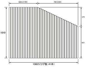お風呂のふた パナソニック (松下電工 ナショナル) 風呂ふた 巻きふた  RL91041RC (RL91041Rの代替品) 1010×1368.5mm (リブ数 : 41本)