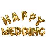 Amazon.co.jp【ノーブランド品】HAPPY WEDDING フォイルエ アヘリウム 風船 ブライダル ウェディング パーティー デコレーション