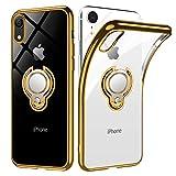 iPhone XR ケース リング 透明 クリア リング付き tpu シリコン スリム 薄型 6.1インチ スマホケース 耐衝撃 米軍MIL規格取得 ストラップメッキ加工防止 一体型 人気 携帯カバー ゴールド