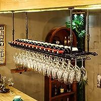Weiyue ワインラック- ワインワインボトルホルダーウォールマウントラックレトロウォールワインは、金属鉄のストレージをラックにバーの天井の壁はワインシャンパングラスカップ脚付きグラスをハンギングラックマウントラック (Color : B, Size : 100*30cm)