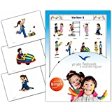 Verbs Flashcards in German Language - Set 2 - Flash Cards with Matching Bingo Game for Toddlers, Kids, Children and Adults - Size 4.13 × 5.83 in - DIN A6