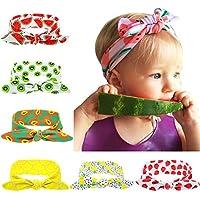 Liebeye ヘッドバンド ウサギの耳 弾力的 フルーツ模様 プリント 赤ちゃん 女の子 六色選択できる ギフト プレゼント 6PCS(各色1pcs) 6色セット