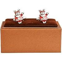MRCUFF Santa Claus Reindeer Christmas Pair Cufflinks in a Presentation Gift Box & Polishing Cloth