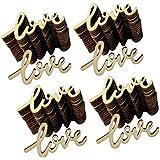 KESOTO 約60個 木製タグ LOVE ラブ 結婚式 装飾 ハンガー カード作成 フォトフレーム サイン作成