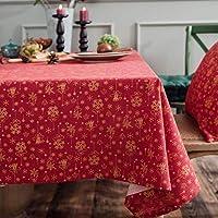 レッドコットンリネンクリスマス テーブル クロス,印刷された長方形 テーブルカバー ほこり-証明 テーブル プロテクター コーヒーテーブルクロス-赤 140x240cm