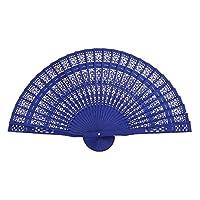 P Prettyia 扇子 折り畳み扇子 木製 中空彫刻扇子 ハンドファン 折りたたみ 携帯便利 ブルー