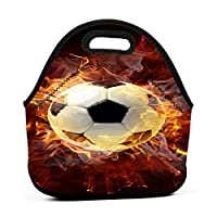 Fire Soccer 保温再利用可能おポータブル弁当箱ランチトートバッグ食事袋子供大人ユニセックス