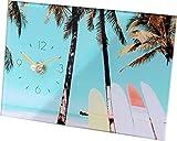 キーストーン 置き時計 ガラス アー ト ピクチャー クロック 20×4.5×13cm ビーチI CL050010