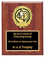Art Plaque Awards 5x 7木製本図面TrophiesブラシペイントTrophy Free Engraving