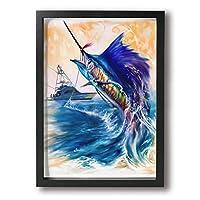 船 魚 パネル フレーム装飾画 絵画 キャンバスアート アートパネル 壁掛け 絵 モダンアート 壁飾り ポスター 壁画 背景 枠付き A4 木製 ファッション