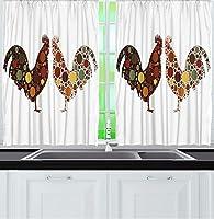 VamJump キッチン遮光カーテン 昼夜目隠し 洗える 遮像 デコレーション 取り付け簡単、水玉模様の酉国の装飾キッチン窓窓茶色素朴な装飾農家テーマ白レンガ赤緑黄色 2枚組 幅100cm丈215cm