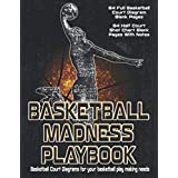 Basketball Madness Playbooks: Basketball Court Diagrams For Your Basketball Play Making Needs - 64 Full Basketball Court Diagrams And 64 Half Court Shot Chart Blank Pages With Notes