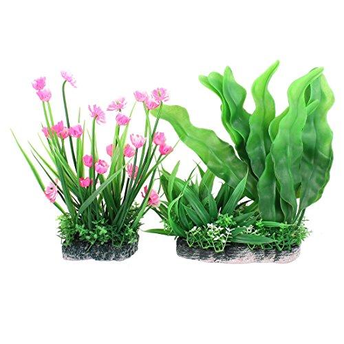 プラスチック製の水槽の造花草植物インテリアオーナメント2個
