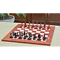 Combo of Castle Series Unique Chess Pieces in Ebony & Bud Rose Wood & Red Ash Burl Maple Wooden Chess Board - 3.4