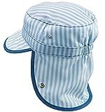 帽子 日よけ付 ベビー ブルー ストライプ 頭回り約51 ~ 52cm