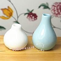 bobominiworld 2個Porcelaineホワイトandブルー花瓶ドールハウスミニチュア装飾1 : 12スケール高さ3 cmブルー