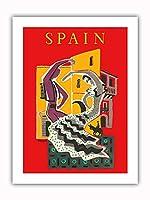スペイン - フラメンコダンサー - ビンテージな世界旅行のポスター によって作成された ベルナール・ヴィユモ c.1957 - プレミアム290gsmジークレーアートプリント - 30.5cm x 41cm