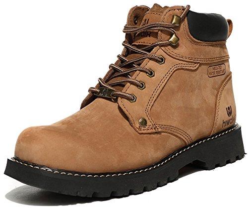 (ハイウォーク)Hiwalk 天然皮革通気性アウトドアシューズ 作業靴 9600 (26.0, カーキ)