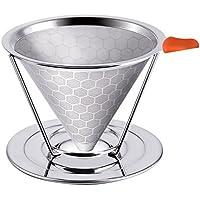 コーヒードリッパー 超微細 ステンレスフィルター Zyurong 2層メッシュ構造 一体型 coffeeカフェオールドリッパー コーヒー器具