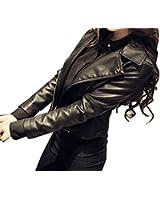 ELPIS レディース フェイク レザー ライダース ジャケット 定番 PU 合皮 ショート 丈 ブラック S~XXL サイズ