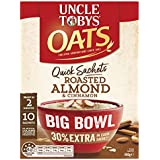 UNCLE TOBYS OATS QUICK SACHETS Big Bowl Roasted Almond & Cinnamon, 10 x 46g