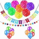 お誕生日 飾り付け セット ペーパーフラワー×8 個 HAPPY BIRTHDAY ガーランド 風船 バルーン 10個 ガーランドサークルドット祝日、部屋..