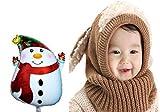あったか ウサギ 耳 スヌード 赤ちゃん ベビー ネックウォーマー バルーン セット (3.ブラウン)