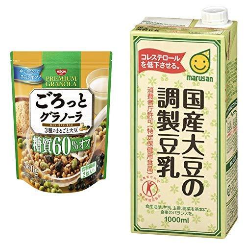 【セット買い】ごろっとグラノーラ3種のまるごと大豆糖質60%オフ360g 360gX6袋 + [トクホ]マルサン 国産大豆の調製豆乳 1L×6本
