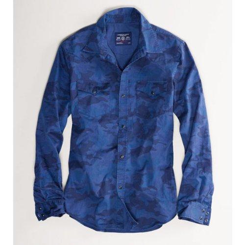 メンズ 長袖シャツ カジュアルシャツ [ネイビー迷彩/カモフラージュ] アメリカンイーグルアウトフィッターズ