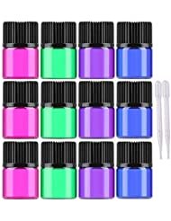 30 Pcs Essential oil Glass Bottles 1ml/2ml/3ml Mini Multicolor(blue,green,pink,purple) Empty Liquid Sample Vials...